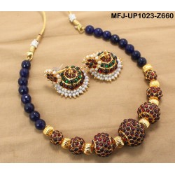 Ruby & Emerald Stones Kerala Design Gold Plated Finish Necklace Set Buy Online