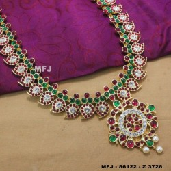 CZ, Ruby & Emerald Stones Flowers Design With Pearls Drops Mat Finish Earrings Buy Online