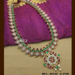 Ruby & Emerald Stones Peacock Design With Pearls Drops Mat Finish Earrings Buy Online