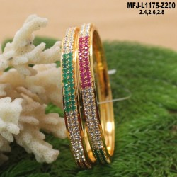 1 Gram Gold Dipped Ruby & Emerald Stones Flowers & Leaves Design Bracelet Buy Online