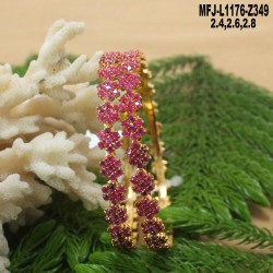 1 Gram Gold Dip CZ & Ruby Stones Flowers & Leaves Design Bracelet Buy Online
