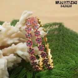 1 Gram Gold Dip CZ, Ruby & Emerald Stones Flowers Design With Balls Drops Choker Necklace Set Buy Online