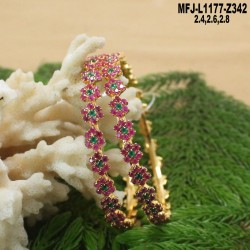 1 Gram Gold Dip CZ, Ruby & Emerald Stones Flowers & Leaves Design With Pearl Drop Choker Necklace Set Buy Online