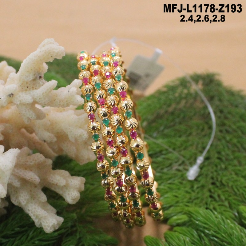 1 Gram Gold Dip Cz Ruby Emerald Stones Flowers Leaves Design With Pearl