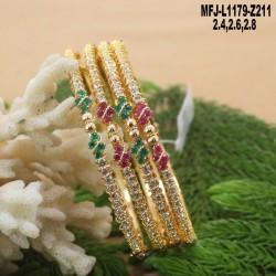 1 Gram Gold Dip Ruby & Emerald Stones Lakshmi, Mango & Flowers Design With Pearl Drop Haram Set Buy Online