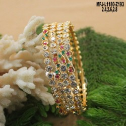 Gold Plated Finish 4 & 3 Lines Balls Design Chain With CZ & Ruby Stones Peacock Design Pendant & Side Pendants Buy Online