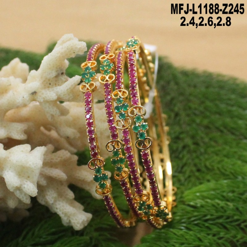 2.8 Size Ruby & Emerald Stones Flowers Design Mat Finish Two Set Bangles Buy Online