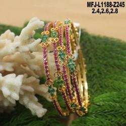 1 Gram Gold Dip Ruby & Emerald Stones Lakshmi Design Vamki Buy Online