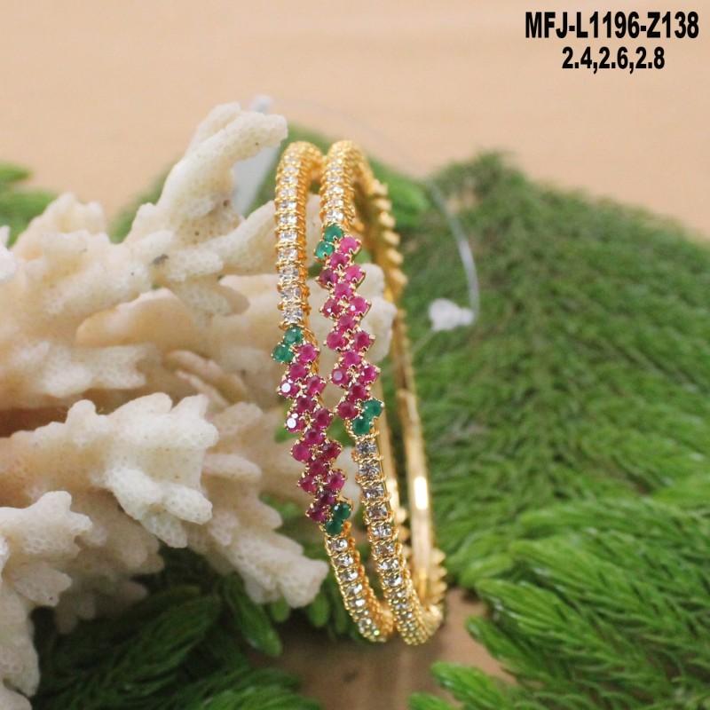 Ruby & Emerald Stones Lakshmi, Peacock & Flowers Design Mat Finish Pendant Set With Designer Chain Buy Online