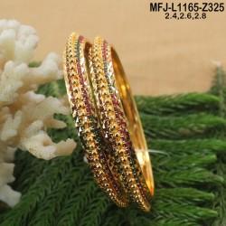 1 Gram Gold Dip Ruby & Emerald Stones Designer Bracelet Buy Online
