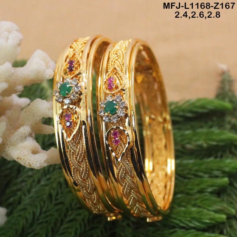 Ruby & Emerald Stones Mango, Peacock & Flowers Design Mat Finish Haram Set Buy Online