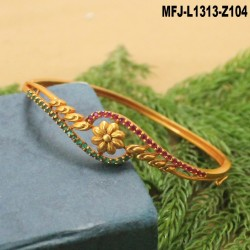 Ruby Stones Leaves Design With Pearl Drop Gold Plated Finish Jumki Buy Online