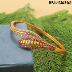 Ruby Stones Flowers & Leaves Design With Pearl Drop Gold Plated Finish Jumki Buy Online