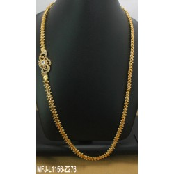 CZ & Ruby Stones Leaves & Thilakam Design Gold Plated Finish With Pearls Drops Hip Chain Buy Online