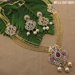 CZ & Ruby Stones Peacock, Flowers & Thilakam Design With Pearl Drop Gold Plated Finish Haram Set Buy Online