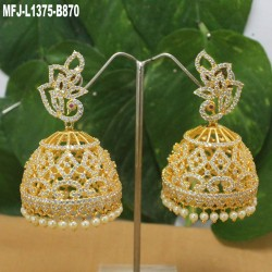 High Quality Kempu & CZ Stones With Pearls Peacock & Jumki Design Ear Cuff For Bharatanatyam Dance And Temple Buy Online