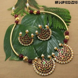 Pearls & Golden Colour Beads With Golden Colour Polished Flower Design Pendant Chain Set Buy Online