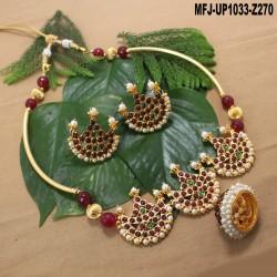 Red & Golden Colour Beads With Golden Colour Polished Designer Pendant Necklace Set Buy Online