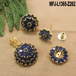 Ruby & Emerald Stones Flowers Design Gold Plated Finish Pendant Set Buy Online