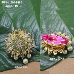 CZ, Ruby & Emerald Stones Peacock Design With Pearls Drops Gold Plated Finish Saree Pin Buy Online