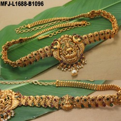 Ruby & Emerald Stones Thilakam & Mango Design With Pearls Drops Mat Finish Hip Chain Buy Online