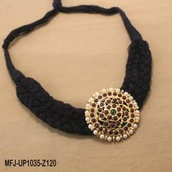 Kempu Stones Golden Colour Polished Mango & Peacock Design Pendants With Black Thread Necklace Buy Online