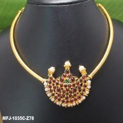 Kempu Stones Golden Colour Polished Flower Design Pendant With Black Thread Necklace Buy Online