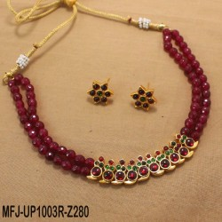 Green Colour Beads With Golden Colour Polished Mango Design Pendants Necklace Set Buy Online