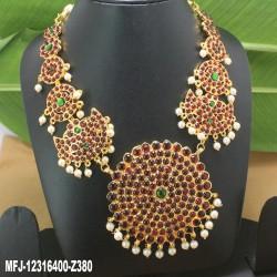 Kempu Stones Golden Colour Polished Flower & Jumki Design Pendant Necklace Buy Online