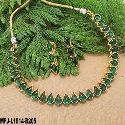 Thilakam Shaped Kempu Stones Single Line Design Gold Plated Finish Necklace Set Buy Online