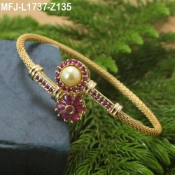 CZ Stones With Pearl Flowers Design Gold Plated Finish Bracelet Buy Online