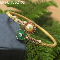 Ruby Stones With Pearl Flowers Design Gold Plated Finish Bracelet Buy Online