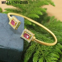 CZ & Blue Sapphire Stones Designer Gold Plated Finish Bracelet Buy Online