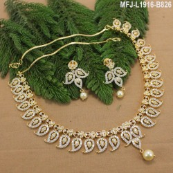 CZ Stones Flowers & Leaves Design Gold Plated Finish Necklace Set Buy Online