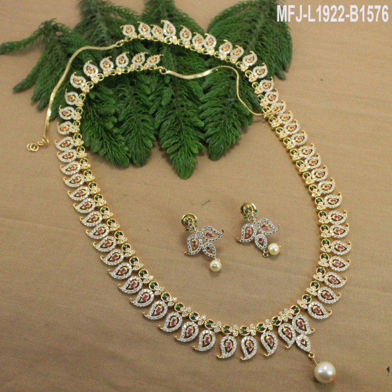 1a77508460d ... Set Buy Online. CZ, Ruby & Emerald Stones Mango & Flowers Design With  Pearl Drop Gold Plated Finish