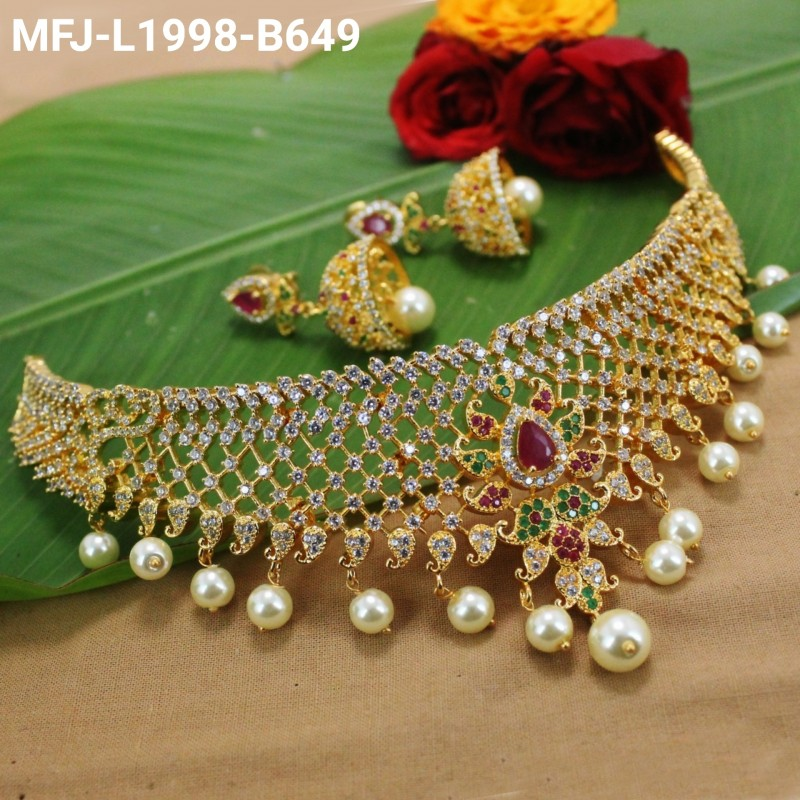d17225acbbd ... Necklace Set Buy Online. CZ & Ruby Stones Peacock & Flowers Design With  Pearls Drops Gold Plated Finish Choker Necklace