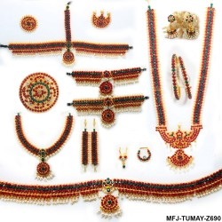 Red & White Colour Stones With Pearls Drops Full Set For Bharatanatyam Dance And Temple Buy Online