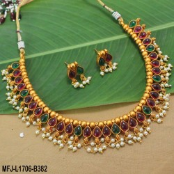 Kempu Stones With Pearls Thilakam & Balls Design Mat Finish Necklace Set Buy Online