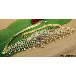 Ruby & Emerald Stones Flowers Design Gold Plated Finish Hip Chain Buy Online