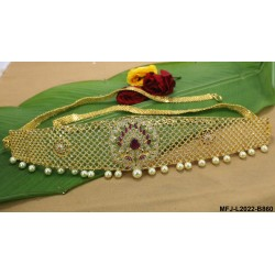CZ, Ruby & Emerald Stones With Pearls Drops Flowers Design Gold Plated Finish Hip Belt Buy Online