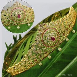 CZ & Ruby Stones With Pearls Drops Peacock Design Gold Plated Finish Hip Belt Buy Online