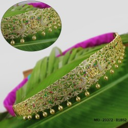 CZ, Ruby & Emerald Stones With Pearls Drops Peacock & Flowers Design Gold Plated Finish Hip Belt Buy Online