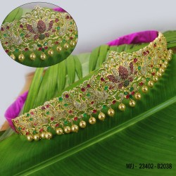 CZ, Ruby & Emerald Stones With Pearls Drops Lakshmi, Peacock & Flowers Design Gold Plated Finish Hip Belt Buy Online
