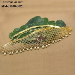 CZ, Ruby & Emerald Stones With Pearls Drops Lakshmi, Fish & Flowers Design Gold Plated Finish Hip Belt Buy Online