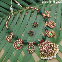 Red Colour Beads With Golden Colour Polished Mango Design Pendants Necklace Set Buy Online
