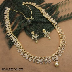 CZ & Ruby Stones Mango & Flowers Design With Pearl Drop Gold Plated Finish Haram Set Buy Online