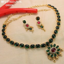 High Quality Kempu & CZ Stones Flowers & Oval Design Single Line Necklace Set For Bharatanatyam Dance And Temple Buy Online