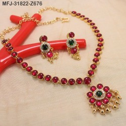 High Quality Kempu & CZ Stones Flowers Design Single Line Necklace Set For Bharatanatyam Dance And Temple Buy Online