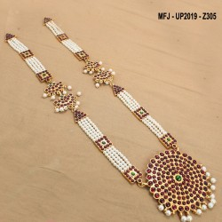 Kempu & White Colour Stones With Pearls Drops Moon & Flowers Design Haram For Bharatanatyam Dance And Temple Buy Online