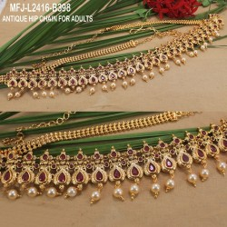 Emerald Stones With Pearls Drops Peacock & Flowers Design Hip Chain Buy Online